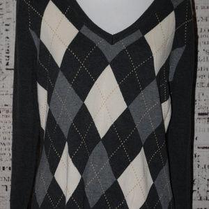 Izod argyle sweater Ladies size large gray